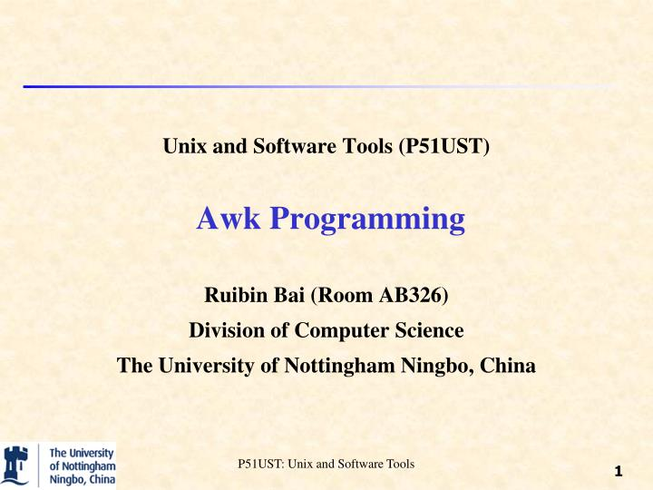 unix and software tools p51ust awk programming