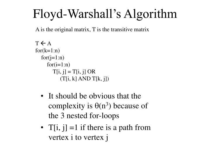 Floyd-Warshall's Algorithm