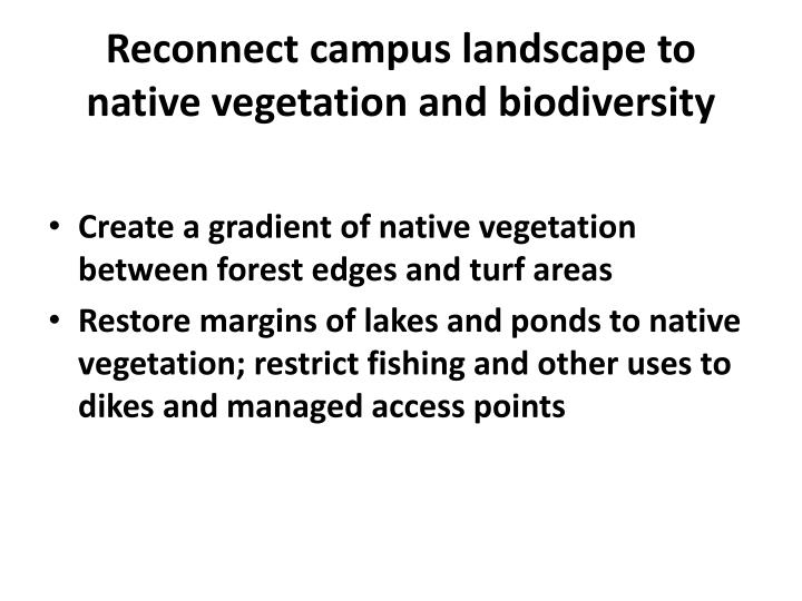 Reconnect campus landscape to native vegetation and biodiversity
