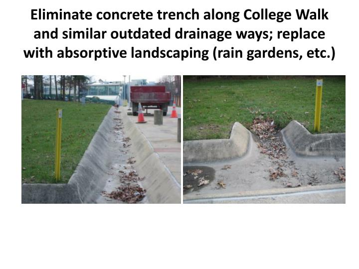 Eliminate concrete trench along College Walk and similar outdated drainage ways; replace with absorptive landscaping (rain gardens, etc.)