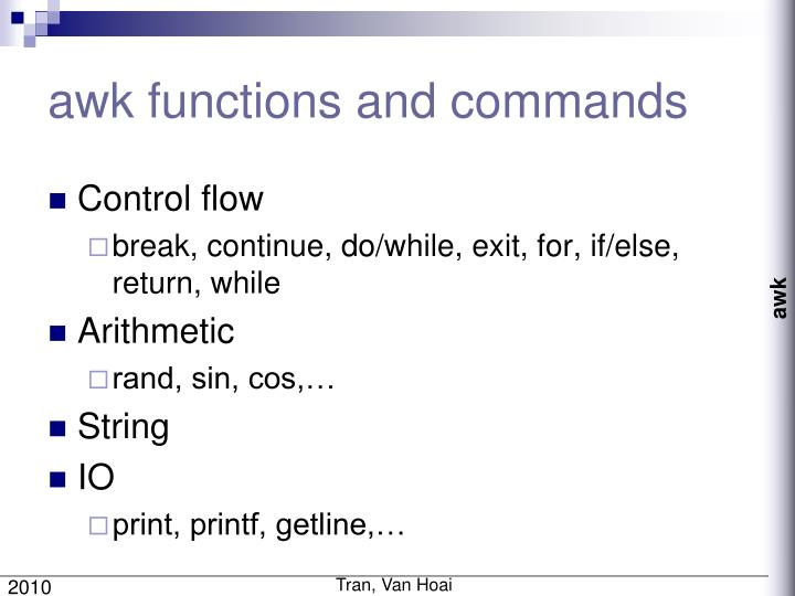 awk functions and commands