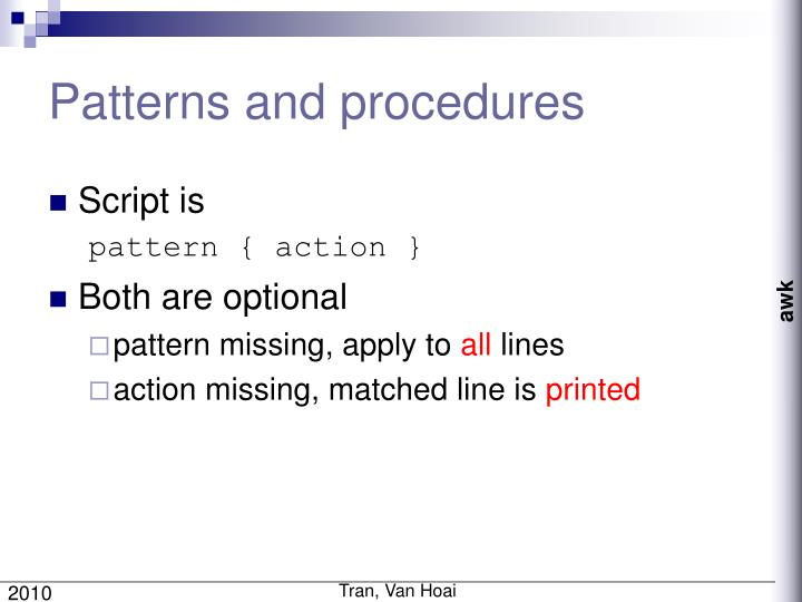 Patterns and procedures