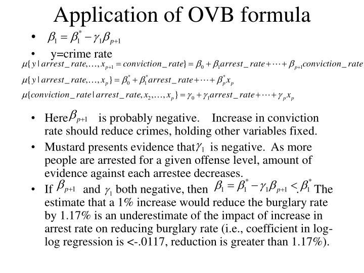 Application of OVB formula