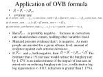 application of ovb formula