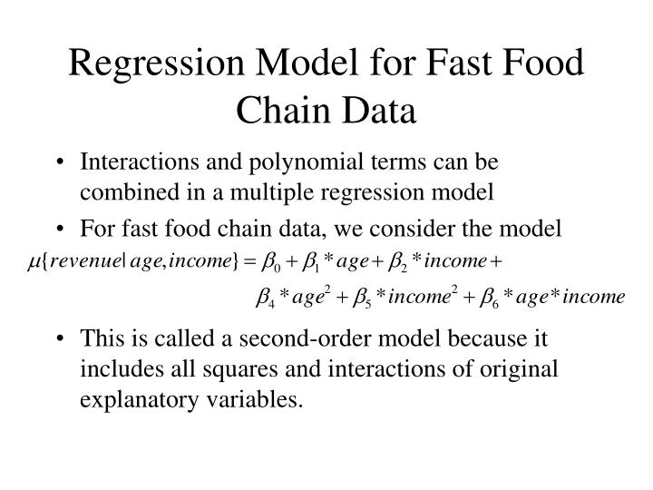 Regression Model for Fast Food Chain Data
