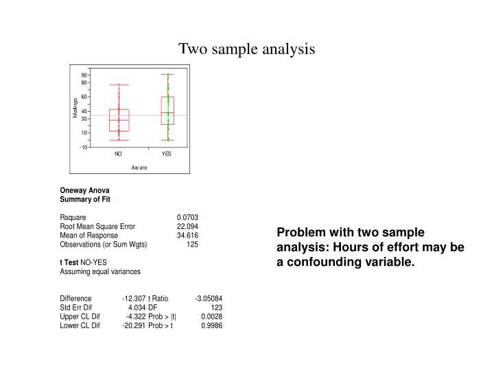 Two sample analysis