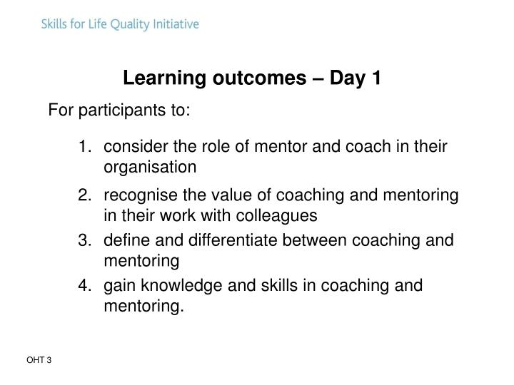 Learning outcomes – Day 1