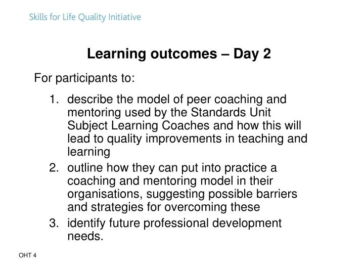 Learning outcomes – Day 2