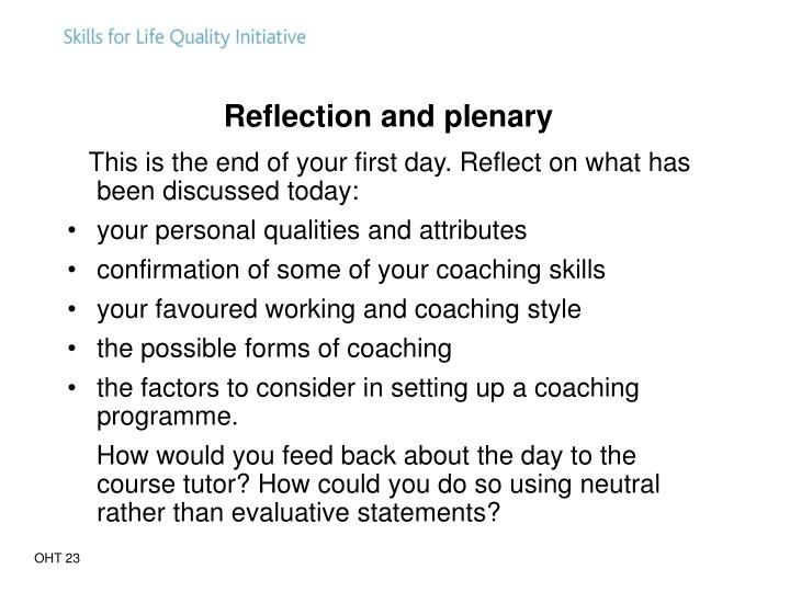 Reflection and plenary