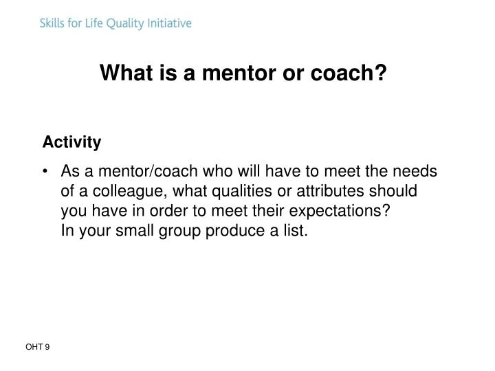 What is a mentor or coach?