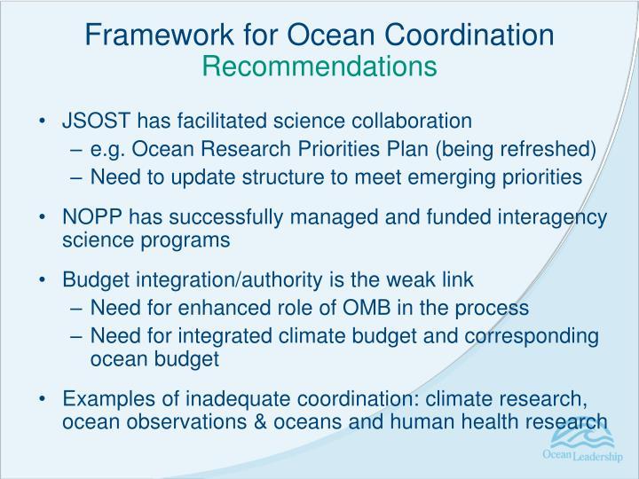 Framework for Ocean Coordination