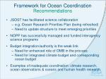 framework for ocean coordination recommendations
