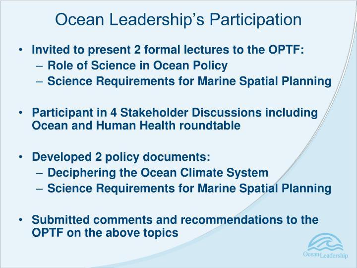 Ocean Leadership's Participation