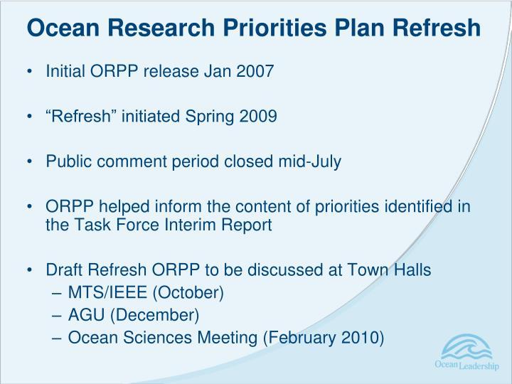 Ocean Research Priorities Plan Refresh