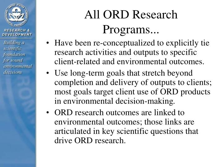 All ORD Research Programs...