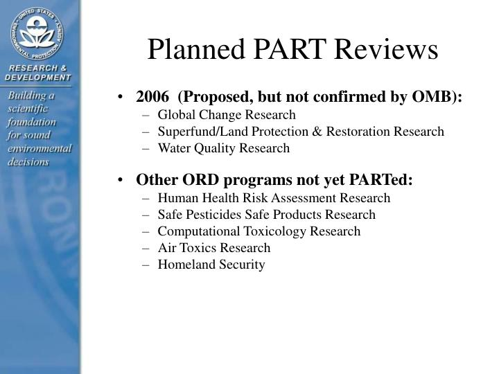 Planned PART Reviews