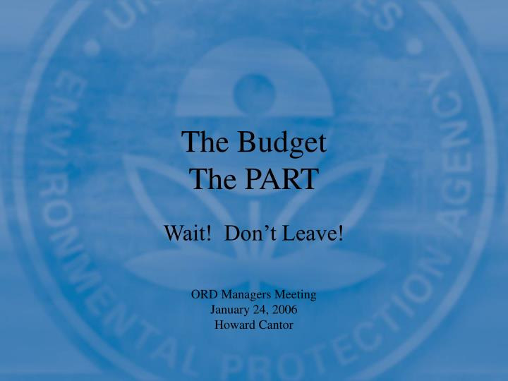 The budget the part