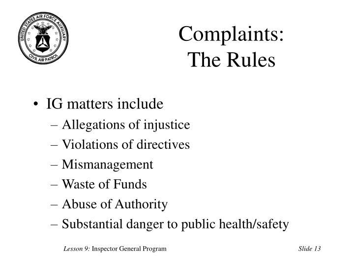 Complaints: