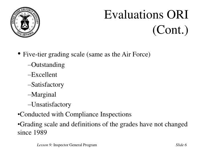 Evaluations ORI (Cont.)