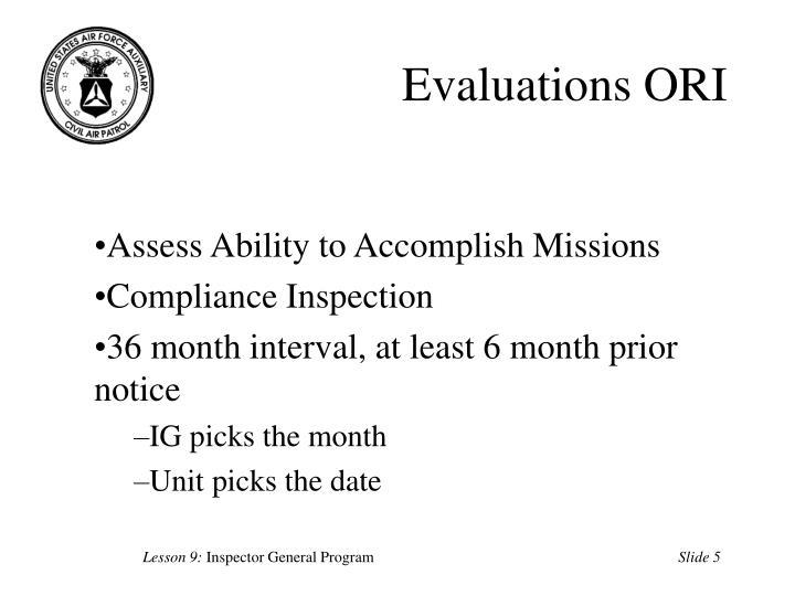 Evaluations ORI