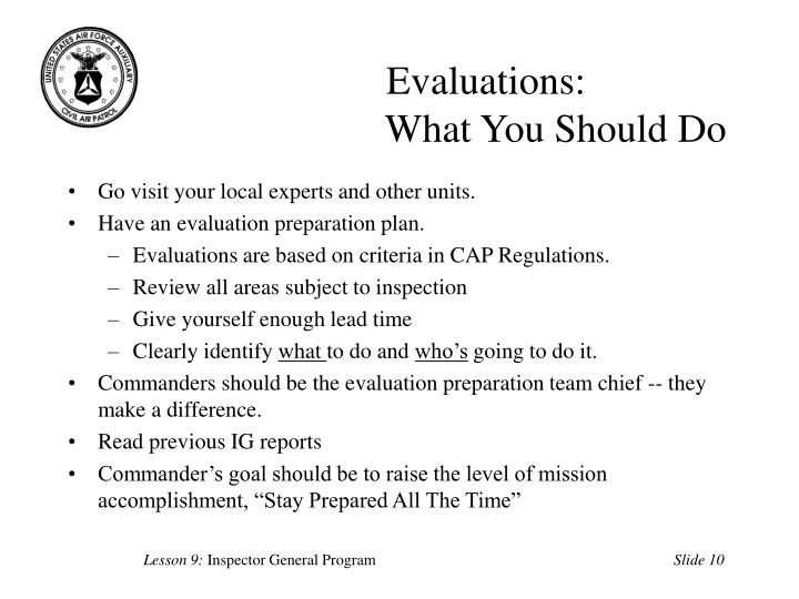 Evaluations:
