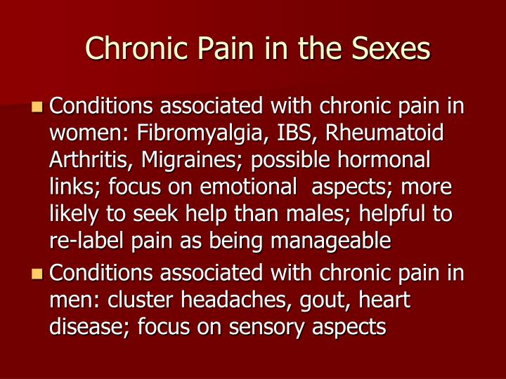Chronic Pain in the Sexes