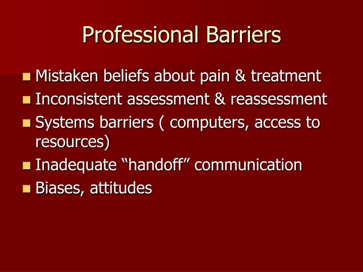 Professional Barriers