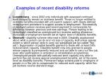 examples of recent disability reforms