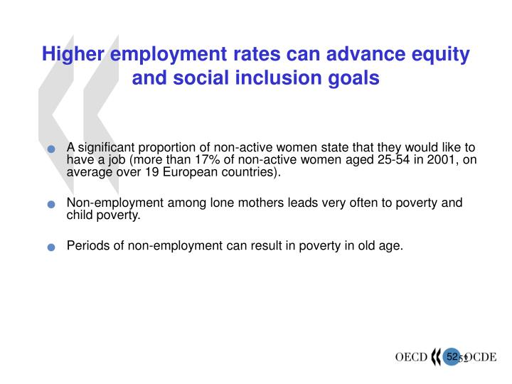 Higher employment rates can advance equity and social inclusion goals