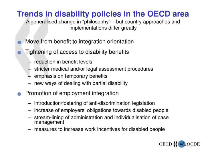 Trends in disability policies in the OECD area