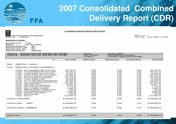 2007 Consolidated  Combined Delivery Report (CDR)