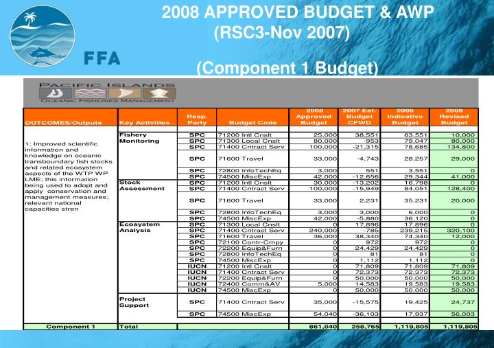 2008 APPROVED BUDGET & AWP