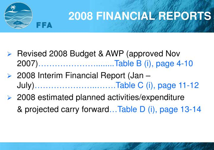 Revised 2008 Budget & AWP (approved Nov 2007)