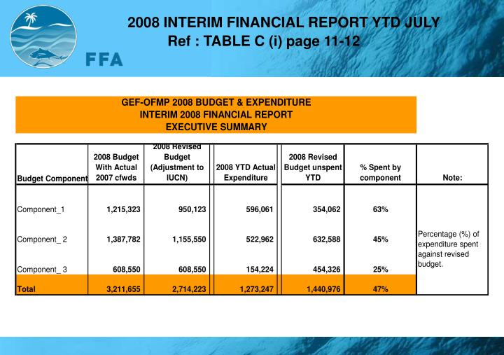 2008 INTERIM FINANCIAL REPORT YTD JULY