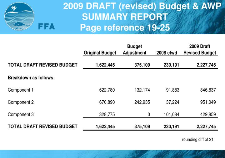 2009 DRAFT (revised) Budget & AWP