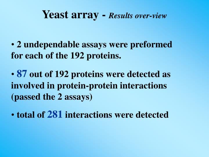 Yeast array -