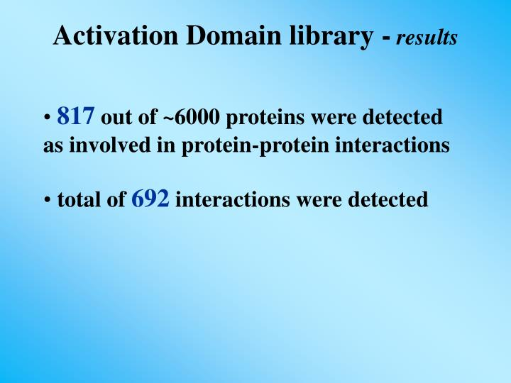 Activation Domain library -