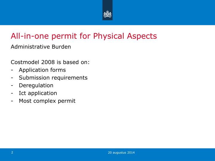 All-in-one permit for Physical Aspects