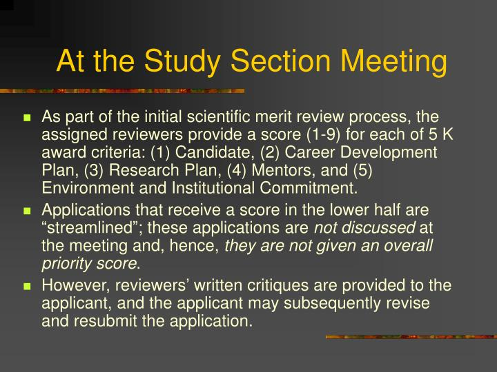At the Study Section Meeting