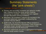 summary statements the pink sheets