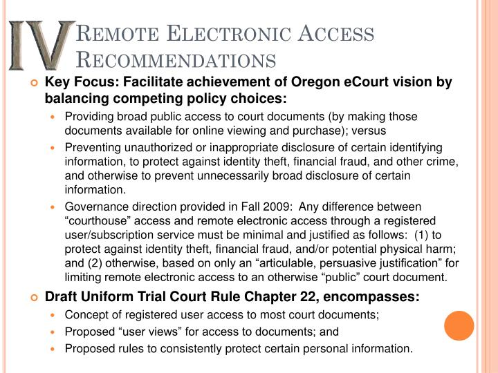 Remote Electronic Access Recommendations