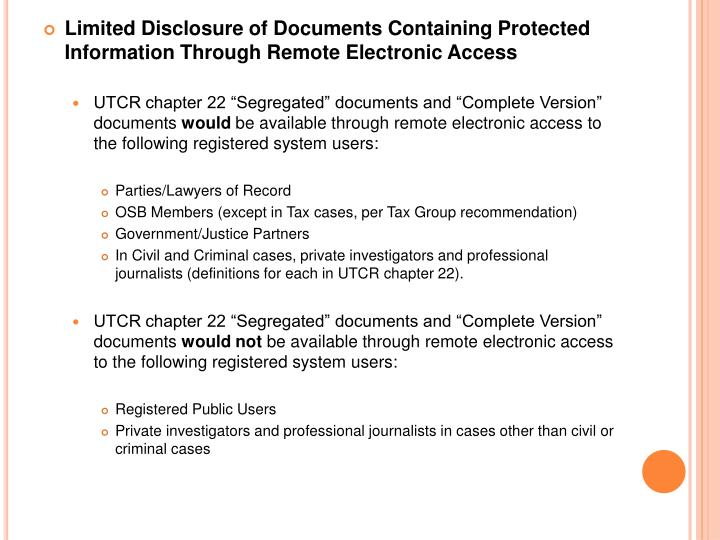 Limited Disclosure of Documents Containing Protected Information Through Remote Electronic Access