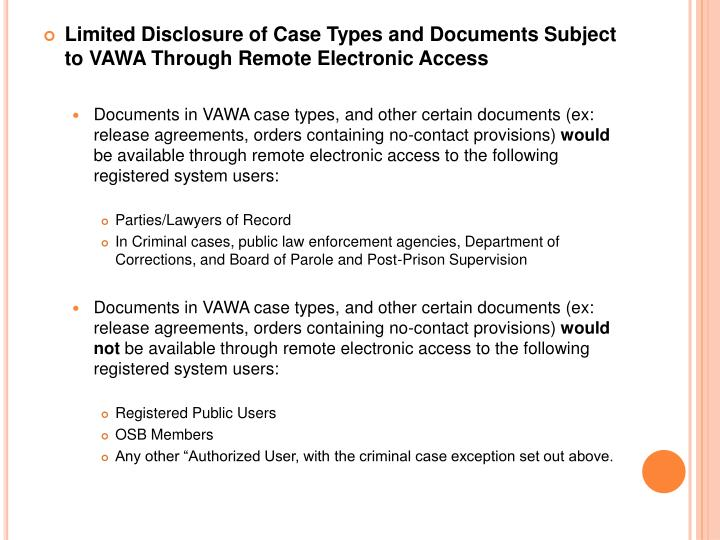 Limited Disclosure of Case Types and Documents Subject to VAWA Through Remote Electronic Access