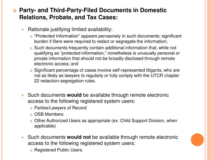 Party- and Third-Party-Filed Documents in Domestic Relations, Probate, and Tax Cases: