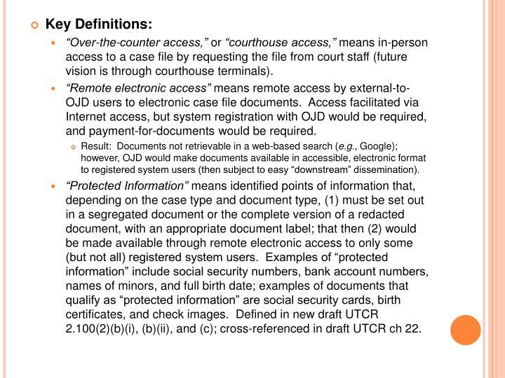 Key Definitions: