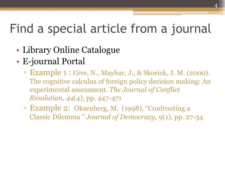 Find a special article from a journal