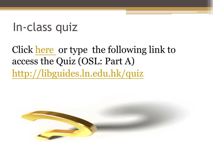 In-class quiz
