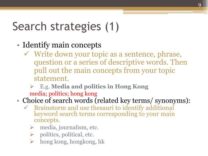 Search strategies (1)
