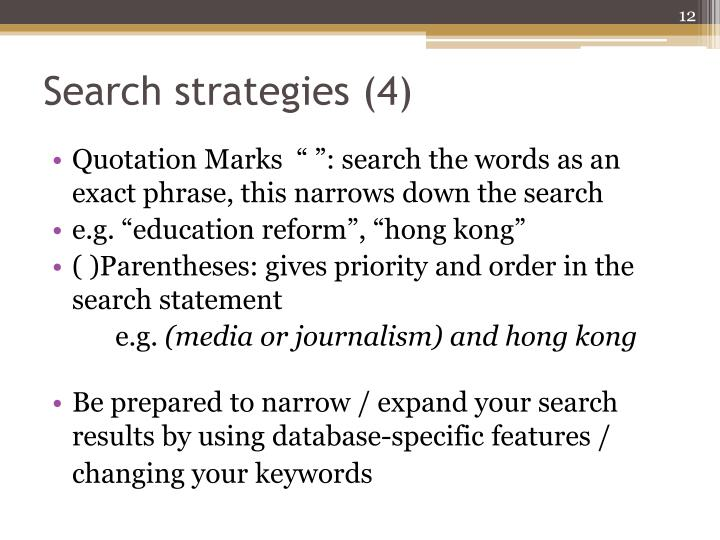 Search strategies (4)