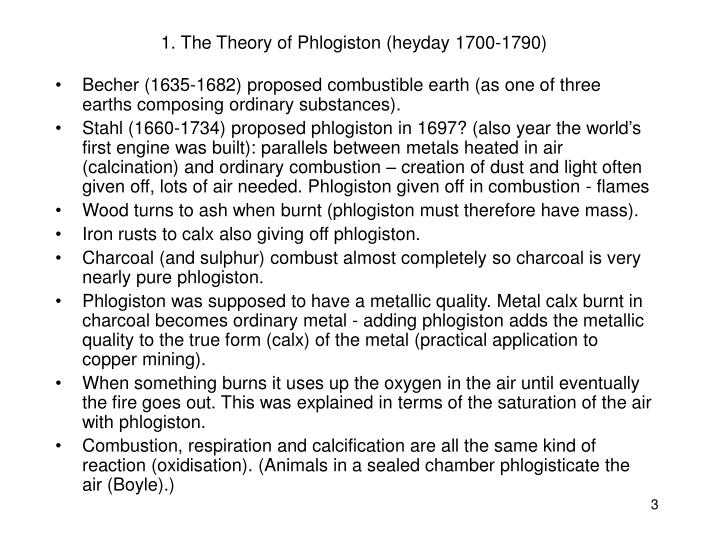 1 the theory of phlogiston heyday 1700 1790